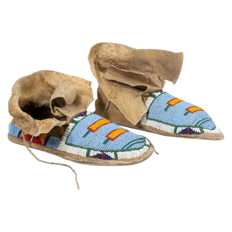 Crow Youth Beaded Moccasins