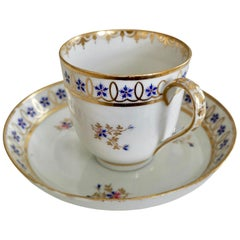 Crown Derby Porcelain Coffee Cup, White, Gilt with Blue Cornflowers, 1782-1790
