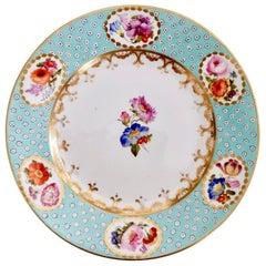 Crown Derby Porcelain Plate, Baby Blue Oeil De Perdrix, Flowers, Regency, 1810