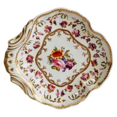 Bloor Derby Shell Dish, White, Floral Sprigs Moses Webster, Regency, 1820-1825