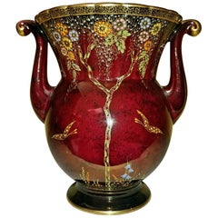 Crown Devon Rouge Lustre Double Handled Vase