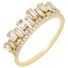 Crown Diamond Ring in 14K Yellow Gold