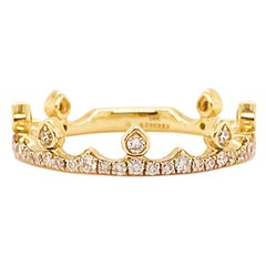 Crown Diamond Ring with the Tiara Look on 1/2 of the Ring, VS Clarity Diamonds