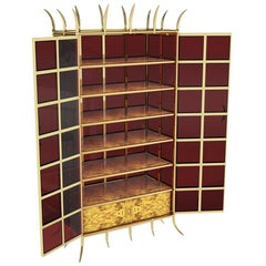 Brass Cabinet With Red Glass And Walnut Adjustable Shelves
