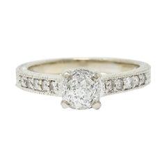 Crown of Light 1.20 Carats Diamond 14 Karat White Gold Foliate Engagement Ring