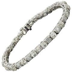 Crown of Light Platinum 10.84 Carat Fantasy Cut Diamond Tennis Bracelets