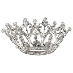 Crown Pin Set in Platinum Contains 1.0 Carat Total Weight Diamonds