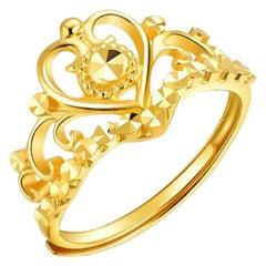 Crown Shape Ring 24 Karat Yellow Gold