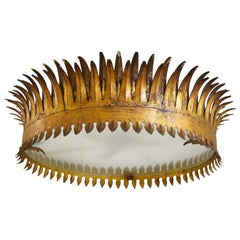 Crown Shaped Gold Metal Semi, Flush Mount Light Fixture from Barcelona