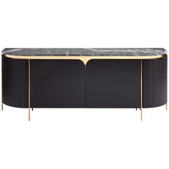 Crown Sideboard, Hand Carved Side, Marble Top with Bronze Legs Sideboard
