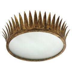 Crown Sunburst Ceiling Flush Mount or Pendant in Gilt Iron