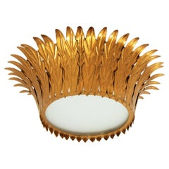 Crown Sunburst Light Fixture or Pendant in Gilt Iron and Frosted Glass