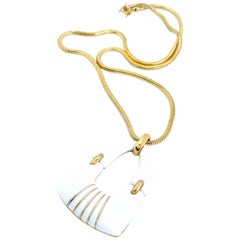 Crown Trifari 1960s White Pendant Necklace