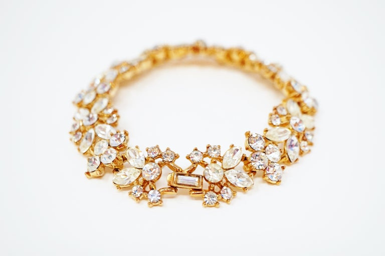 Crown Trifari Crystal Demi-Parure Bracelet and Earring Set, Signed, circa 1950 For Sale 5