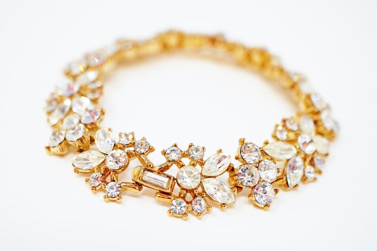 Crown Trifari Crystal Demi-Parure Bracelet and Earring Set, Signed, circa 1950 For Sale 6
