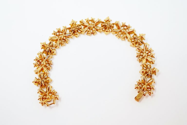 Crown Trifari Crystal Demi-Parure Bracelet and Earring Set, Signed, circa 1950 For Sale 8