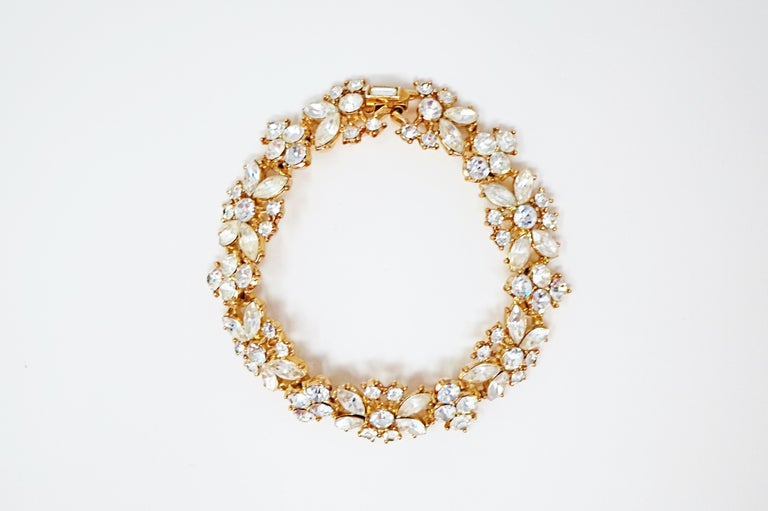Modern Crown Trifari Crystal Demi-Parure Bracelet and Earring Set, Signed, circa 1950 For Sale