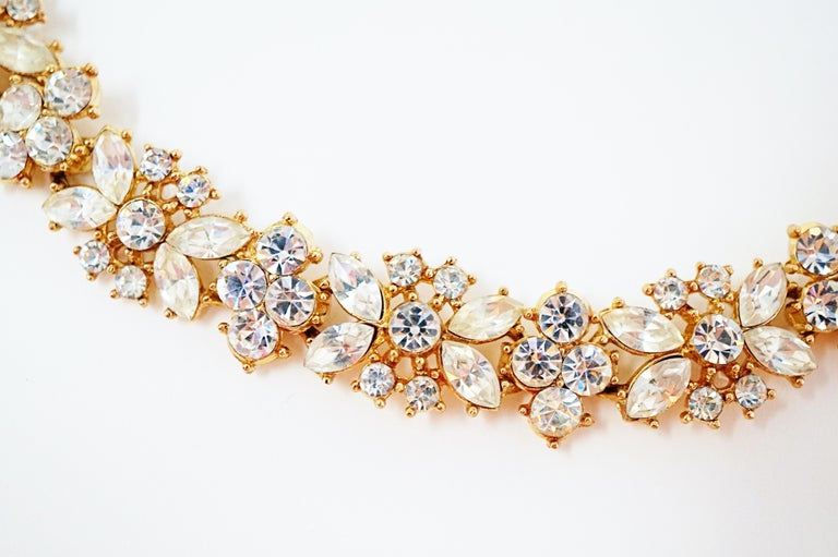 Crown Trifari Crystal Demi-Parure Bracelet and Earring Set, Signed, circa 1950 For Sale 1