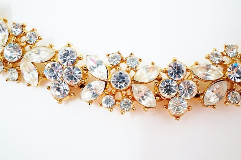 Crown Trifari Crystal Demi-Parure Bracelet and Earring Set, Signed, circa 1950 For Sale 2