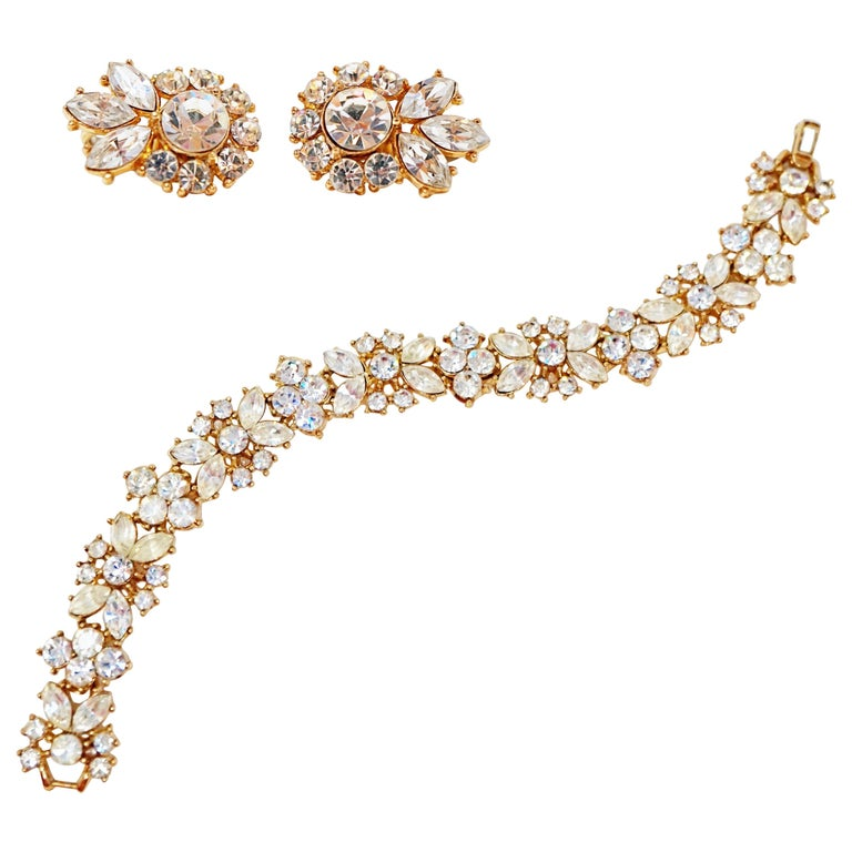 Crown Trifari Crystal Demi-Parure Bracelet and Earring Set, Signed, circa 1950 For Sale