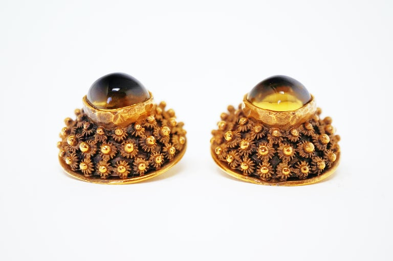 Crown Trifari Gilded Brutalist Statement Earrings, Signed, circa 1960 In Excellent Condition For Sale In Los Angeles, CA