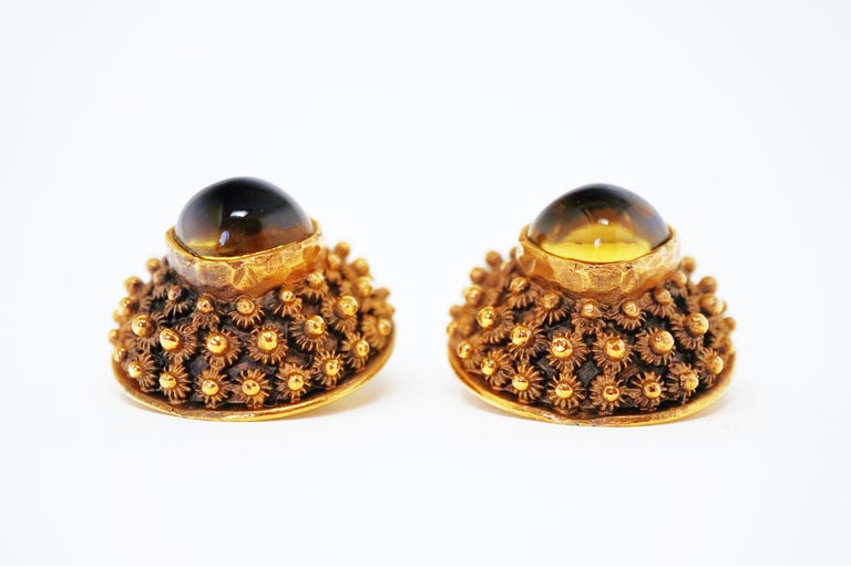 Women's Crown Trifari Gilded Brutalist Statement Earrings, Signed, circa 1960 For Sale