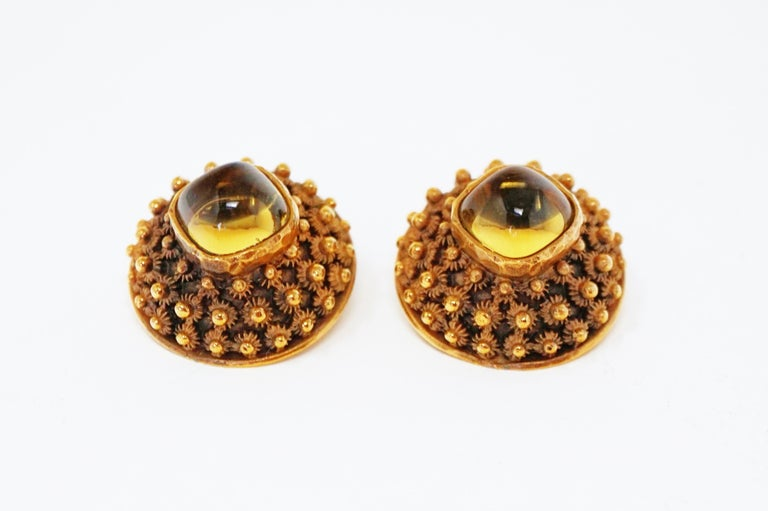 Crown Trifari Gilded Brutalist Statement Earrings, Signed, circa 1960 For Sale 1