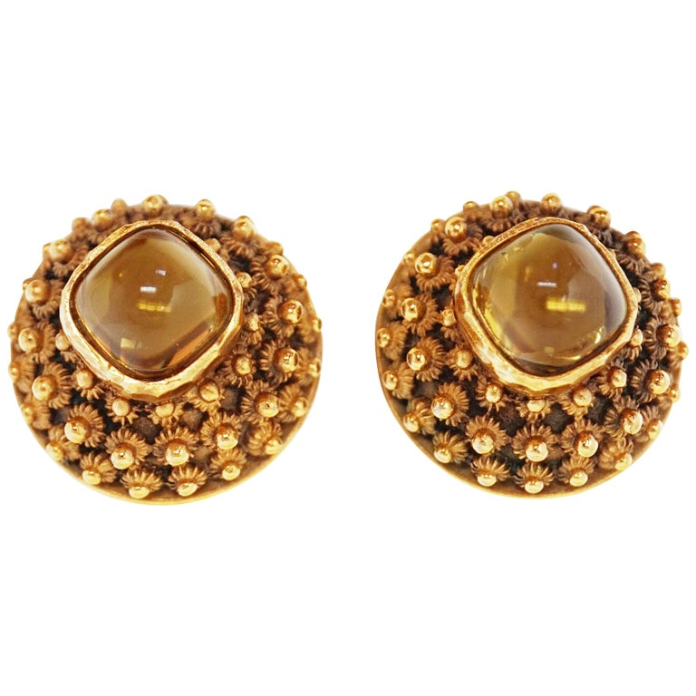 Crown Trifari Gilded Brutalist Statement Earrings, Signed, circa 1960 For Sale