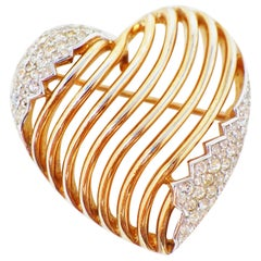 Crown Trifari Gilded Heart Brooch with Swarovski Pavé by Alfred Philippe, 1953