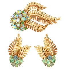 Crown Trifari Gilded Leaves & Rhinestone Demi-Parure Brooch & Earrings, 1960s