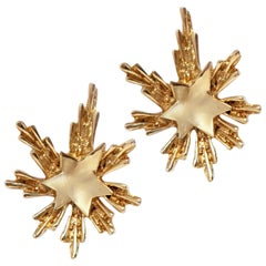 Crown Trifari Gilded Starburst Mid Century Modern Earrings, Signed, circa 1950s