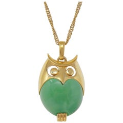 Crown Trifari Green Lucite Owl Pendant Necklace, Signed, circa 1960