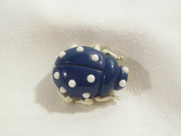 Crown Trifari Lucite Ladybug, Mushroom and Strawberry Trio Brooch Pins  In Excellent Condition For Sale In Montreal, QC