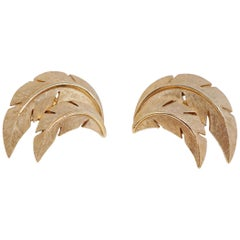 Crown Trifari Palm Leaf Clip-On Earrings, circa 1955, Signed