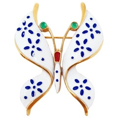 Crown Trifari Precious Pets Enameled Butterfly Brooch, Signed, 1967