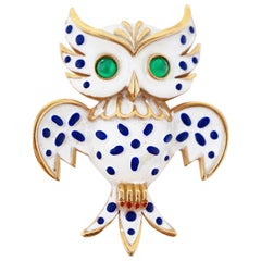 Crown Trifari Precious Pets Enameled Owl Brooch, Signed, 1967