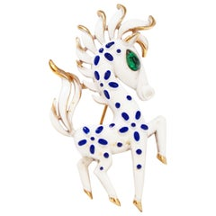 Crown Trifari Precious Pets Enameled Pony / Horse Brooch, Signed, 1967