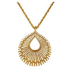 Crown Trifari Sunburst Atomic Style Pendant Necklace, circa 1955, Signed