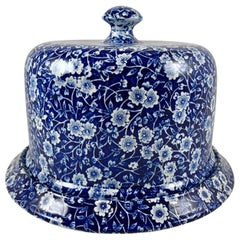 Crownford Staffordshire Blue Calico Chintz Transferware Cheese Dome on Stand