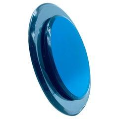 Crtistal Art Blue Table Mirror, Italy, 1970s