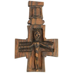 Crucifix Mid Century Sculpture by French Sculptor