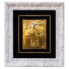 "Salvador Dali ""Crucifixion Corpus Hypercubus"" Gold Edition Relief Sculpture"