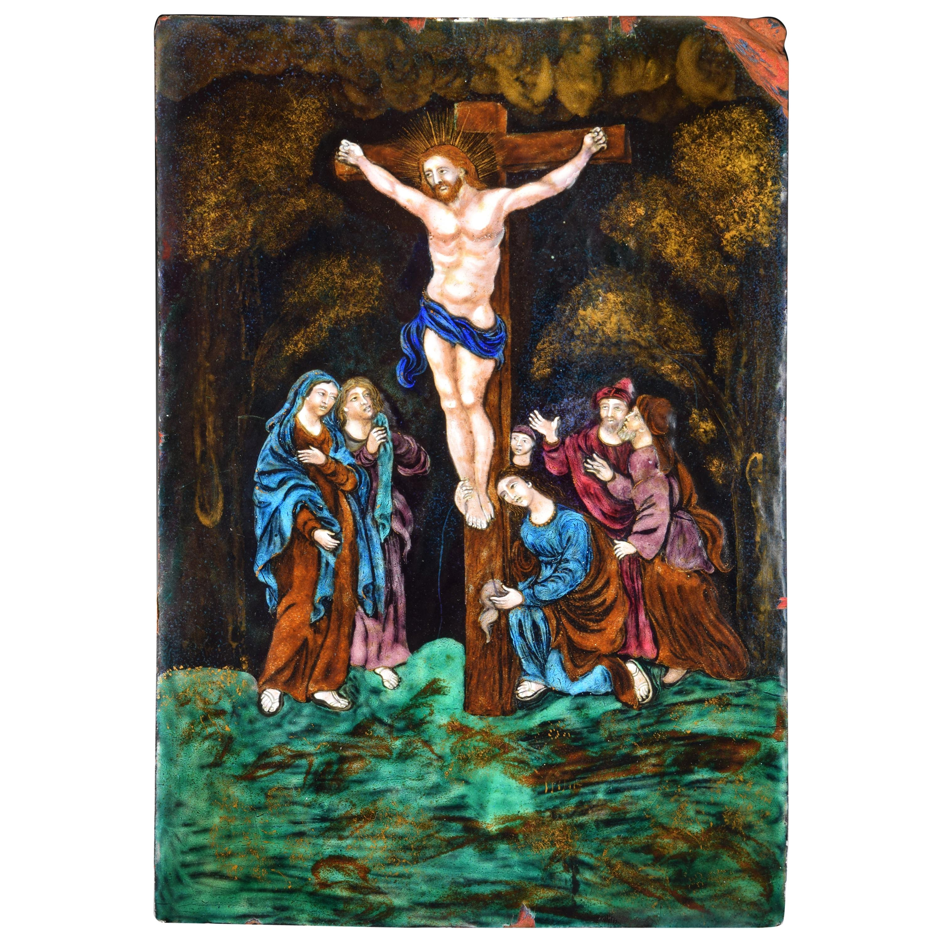 Crucifixion, Enamel on Copper, Limoges, France, 16th Century