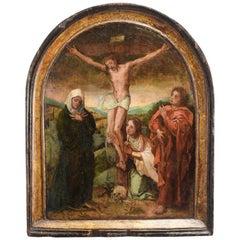 Crucifixion, Oil on Panel, Spanish-Flemish School, 16th Century