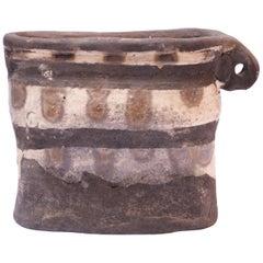 "Crude Studio Stoneware Vase with Handle Signed ""Pollack 71"""