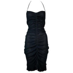 Cruise 2001 Chanel Semi-Sheer Silk Ruched Pin-Up Cut-Out Mini Dress