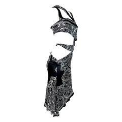 Cruise 2004 Gucci by Tom Ford Bandana Print Black & White Cut-Out Dress