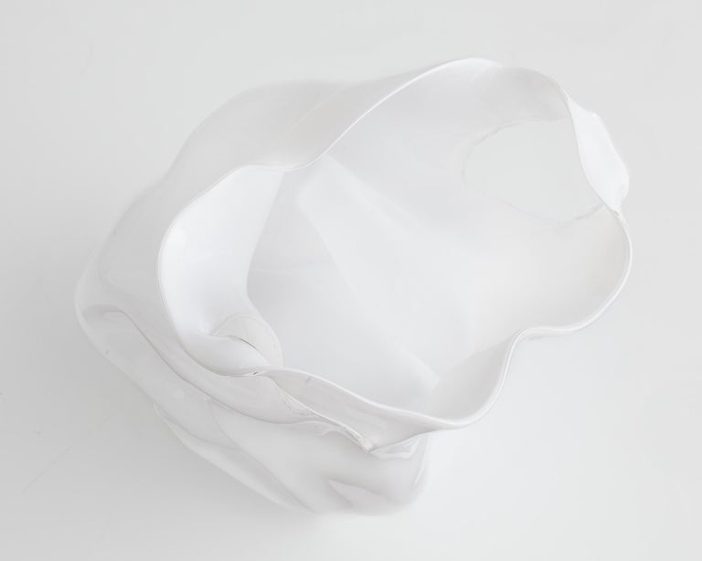 Modern Crumpled Sculptural Vessel in White Hand Blown Glass by Jeff Zimmerman For Sale