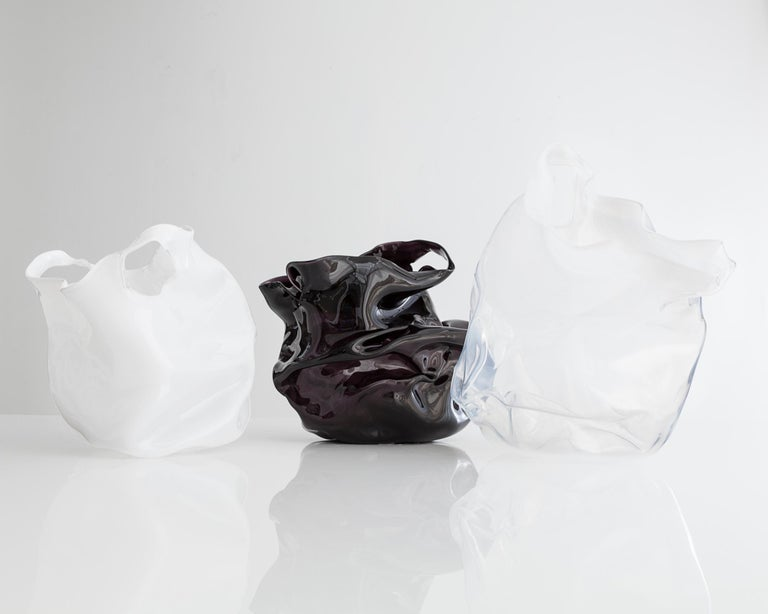 American Crumpled Sculptural Vessel in White Hand Blown Glass by Jeff Zimmerman For Sale