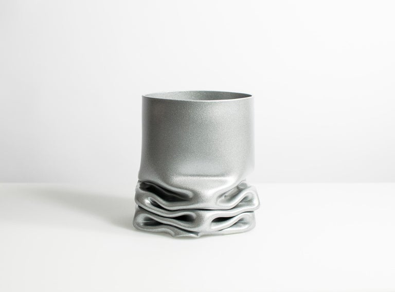 Dutch Crumpled Steel Pressure Vase by Tim Teven, Small For Sale
